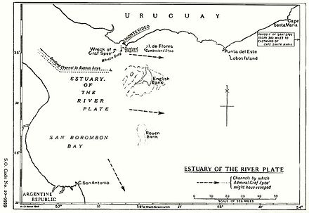 Map of the River Plate showing possible exit channels. HMSO Graf Spee map of River Plate.jpg