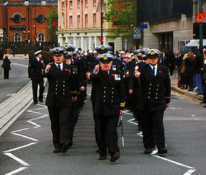 Royal Naval Reserve - The officers of HMS Forward on parade in Birmingham on 11 November 2010