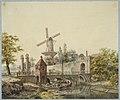HUA-30915-Gezicht over de stadsbuitengracht op de stadswal te Utrecht met de Tolsteegpoort en brug en op de achtergrond de molen op de Bijlhouwerstoren.jpg