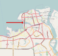 Haikou city map showing location of Haikou Century Bridge.png