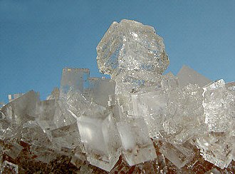Chloride - Crystals of sodium chloride, which, like most chloride salts is colorless and water-soluble.