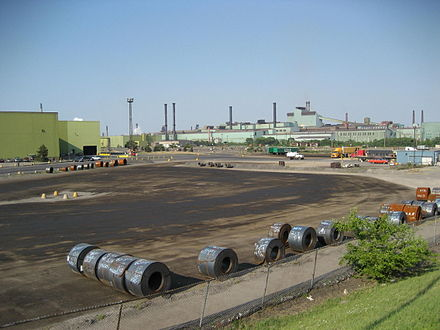 View of ArcelorMittal Dofasco's industrial facilities on Burlington Street. The facilities produce 30 percent of Canada's flat-rolled sheet steel. HamiltonNorthEndIndustrialA.JPG