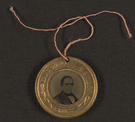 1860 election campaign button for Abraham Lincoln and Hannibal Hamlin. The other side of the button has Lincoln's portrait. Hamlin button 1860.jpg