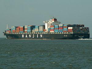 Hanjin Athens p3-1, leaving Port of Rotterdam, Holland 24-Feb-2006.jpg
