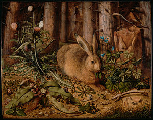 Rabbits and hares in art - A Hare in the Forest (c. 1585) by Hans Hoffmann
