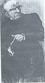 Gravure d'un personnage à l'air sévère, comptant sur ses doigts