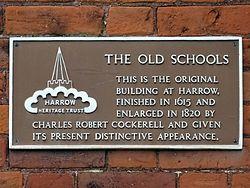 Harrow old schools brown plaque