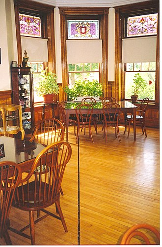 Haskell Free Library and Opera House - The international boundary is marked as a black line on the floor of the reading room of the Haskell Library. In this picture, Canada is on the right side of the line and the United States is on the left.