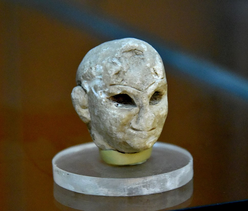 Head of a statue from Tell Asmar, excavated by the Oriental Institute in 1933. The Sulaymaniyah Museum