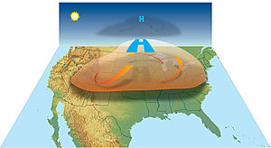 Summer 2012 North American heat wave - High pressure aloft traps heat near the ground, causing a heat wave