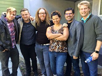 Ryan J. Bell - Tim Minchin, Heather Henderson, Ryan Bell and the film crew of A Year Without God