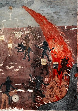 Christian views on hell - Hell - detail from a fresco in the medieval church St. Nicolas in Raduil, Bulgaria