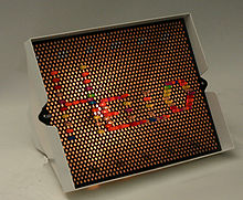 "Lite-Brite (without black paper) spelling ""hello"""