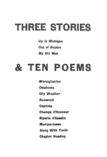 Hemingway - Three Stories and Ten Poems.djvu