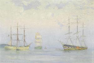 Henry Scott Tuke - Shipping at anchor, Carrick Roads.jpg