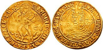 Touch piece - Henry VIII: angel holding a shield and spearing the devil (thin gold coin)