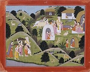 History of the Punjab - Valmiki Hermitage, Punjab Hills, Kangra, c. 1800-25.