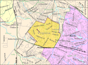 Herndon, Virginia - Boundaries of Herndon as of 2000 (U.S. Census Bureau)