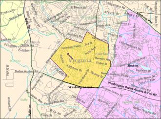 Herndon, Virginia - Boundaries of Herndon as of 2000 (U.S. Census Bureau)