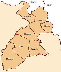 A localização de Erbil na província