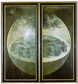 Creation on the exterior shutters of Hieronymus Bosch's triptych The Garden of Earthly Delights (c. 1490-1510) Hieronymus Bosch - The Garden of Earthly Delights - The exterior (shutters).jpg