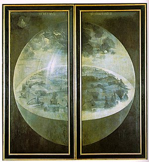 Creation myth - Creation on the exterior shutters of Hieronymus Bosch's triptych The Garden of Earthly Delights (1480–90)