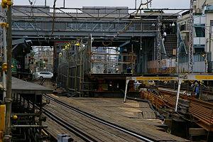 Higashi-Kitazawa Station - Temporary structures for underground track construction, September 2006