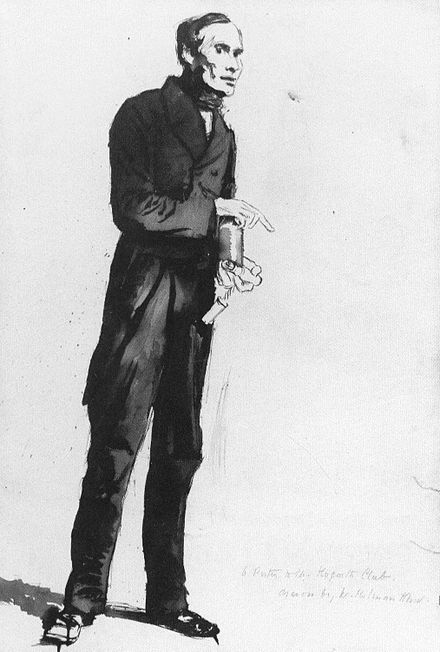 A porter at the club carrying a bottle of wine, drawing by Holman Hunt