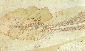 Burning of Edinburgh - Detail of Richard Lee's sketch showing the Palace of Holyroodhouse, English troops entering the Canongate and an English position on Calton Hill