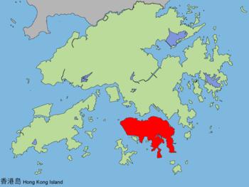 香港島在香港的位置(紅色部份)