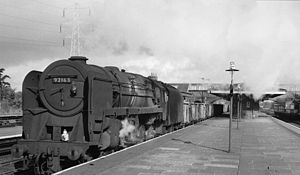 Hooton railway station - The station in 1965 with an Up empties train