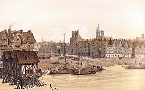 Paris in the 16th century - The Hotel de Ville of Paris in 1583 - 19th century engraving by Hoffbrauer
