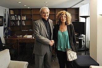 Sia Anagnostopoulou - Anagnostopoulou with her predecessor as Alternate Minister, Nikolaos Chountis.