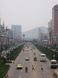 A major street in the city of Huainan, northern Anhui.