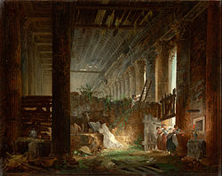 Hubert Robert: A Hermit Praying in the Ruins of a Roman Temple