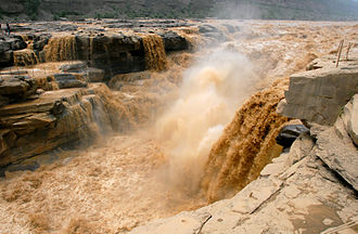 Yellow River - The Yellow River at the Hukou Falls.
