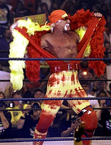 Hulk Hogan sur le ring, en train de retirer son manteau jaune et rouge.