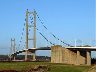 Yorkshire and the Humber - The Humber Bridge was designed based on ideas by Sir Ralph Freeman before the 1950s, then Sir Gilbert Roberts in 1955 and 1964, and a final complete design by Bernard Wex. It was made with a significant amount of ground granulated blast-furnace slag.