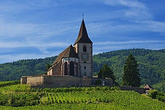 Religion in France - Catholic and Lutheran simultaneum (mixed church) in Hunawihr, Haut-Rhin.
