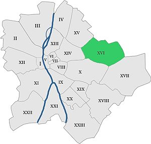 16th district of Budapest - Location of 16th District in Budapest