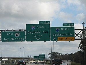 Interstate 295 (Florida) - Exit signs at the interchange with Interstate 95, on south I-295. In this picture, the East Beltway is signed as SR 9A.