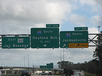 Interstate 295 (Florida) - Exit signs at the interchange with Interstate 95, on south I-295. In this picture from 2008, the East Beltway was signed as SR 9A.