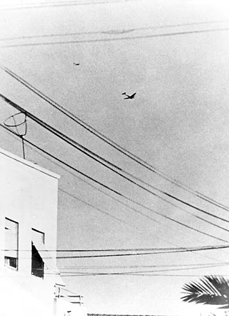 Egyptian Air Force - Israeli Avia S-199 chasing one of two Egyptian aircraft which had been bombing Tel Aviv on June 3, 1948