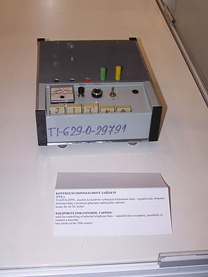 "Telephone tapping - Telephone line control device ""Jitka"", used in late 1960s by Czechoslovakian StB to signal line occupancy, and connect a recorder"