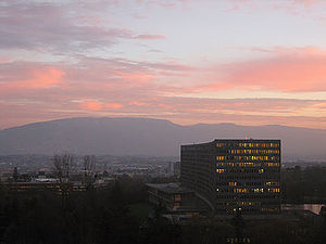 International Labour Organization - ILO building in Geneva with Salève in the background