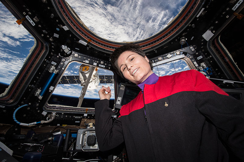 File:ISS-43 Samantha Cristoforetti in the Cupola indicates SpaceX CRS-6.jpg