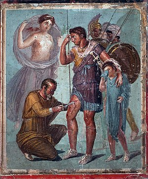 Iapyx - Iapyx removing an arrowhead from the leg of Aeneas, with Aeneas's son, Ascanius (or Iulus), crying beside him.