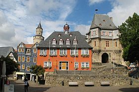 Rathaus, entrance to the castle and Hexenturm, Idstein