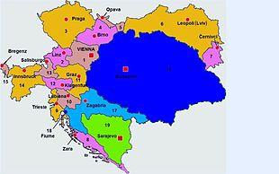 Austria-Ungheria nel 1914: in arancione, rosa e bronzo la Cisleitania, in blu e azzurro la Transleitania, in verde la Bosnia ed Erzegovina