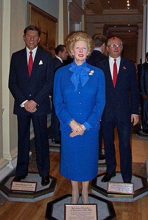 Cultural depictions of Margaret Thatcher - Thatcher's wax figure at Madame Tussauds with Ronald Reagan (left) and Mikhail Gorbachev (right)